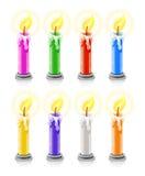 Gekleurde brandende vakantiekaarsen Royalty-vrije Stock Afbeeldingen
