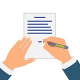 Gekleurde Cartooned-Hand die Contract ondertekenen royalty-vrije illustratie
