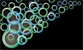 Gekleurde cirkels op een zwarte achtergrond Royalty-vrije Stock Afbeeldingen