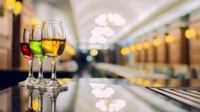Gekleurde cocktails Drie Stock Foto