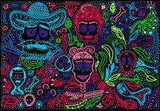 Gekleurde Dag van Dood Sugar Skull met ornament stock illustratie