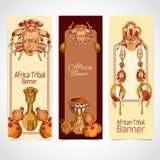 Gekleurde de bannersverticaal van Afrika schets Royalty-vrije Stock Afbeelding