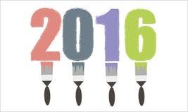 Gekleurde de inschrijving borstelt 2016 Stock Afbeeldingen