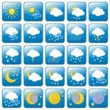 Gekleurde de reeks-vector van Weerpictogrammen Illustratie Stock Foto