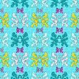 Gekleurde de samenvatting heeft grunge effect vector naadloos patroon op een blauwe achtergrond bezwaar Royalty-vrije Stock Foto's
