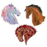 Gekleurde de veelhoeken van paardenhoofden en de overzichtshand trekken vector Royalty-vrije Stock Afbeeldingen