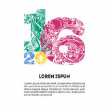 Gekleurde decoratieve cijfers 2016 voor uw ontwerpkaart, banner Stock Afbeeldingen