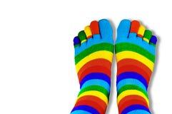 Gekleurde die Sokken met vingers op wit worden geïsoleerd royalty-vrije stock afbeeldingen