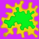 Gekleurde document golven, abstracte, geometrische achtergrondtextuurlagen van diepte in schaduwen van geel purple, groen UFO, do vector illustratie
