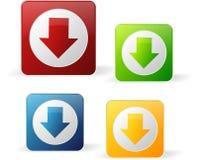 Gekleurde downloadknopen Stock Afbeelding