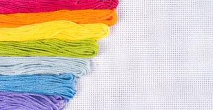 Gekleurde draad voor borduurwerk op wit canvas Exemplaarspase stock afbeeldingen