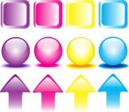 Gekleurde drukknoppen Royalty-vrije Stock Afbeelding