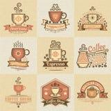 Gekleurde emblemen voor koffie Royalty-vrije Stock Foto's