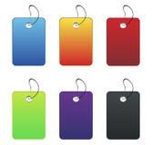Gekleurde etiketten - op wit Stock Fotografie