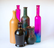 Gekleurde flessen stock foto