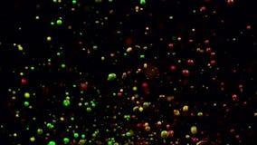 Gekleurde fontein van multicolored waterstralen Zwarte achtergrond Langzame Motie stock video