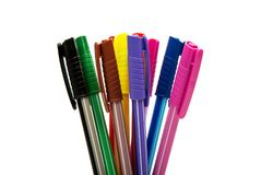 Gekleurde geïsoleerde pennen Stock Foto's