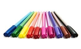 Gekleurde geïsoleerde pennen Stock Fotografie