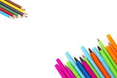 Gekleurde geïsoleerde pennen Royalty-vrije Stock Foto's