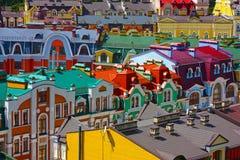 Gekleurde gebouwen in Kiev stock afbeelding