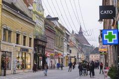 Gekleurde gebouwen op Republicii-Straat Royalty-vrije Stock Foto