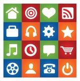 Gekleurde gebruikersinterfacepictogrammen geplaatst geïsoleerdG Stock Foto's