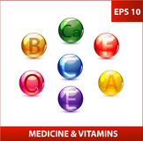 Gekleurde geplaatste geneeskundecapsules Stock Afbeelding