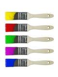Gekleurde geplaatste verfborstels Royalty-vrije Stock Afbeelding