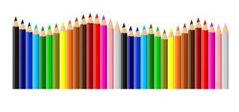 Gekleurde gesorteerde kleurpotloden Stock Afbeeldingen