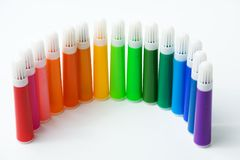 Gekleurde Gevoelde Pennen Stock Fotografie
