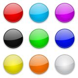 Gekleurde glas 3d knopen Ronde pictogrammen vector illustratie