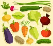 Gekleurde groenten, vlakte Stock Fotografie