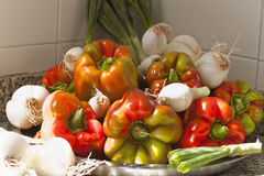Gekleurde grote paprika met ui Royalty-vrije Stock Foto