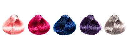 Gekleurde haarsteekproeven stock foto