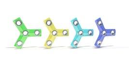Gekleurde hand drie friemelt spinner, 3d geef terug Royalty-vrije Stock Fotografie
