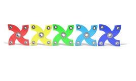 Gekleurde hand vier friemelt 3d spinner, Royalty-vrije Stock Afbeelding