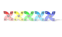 Gekleurde hand vier friemelt spinner, 3d geef terug Stock Afbeeldingen