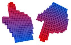 Gekleurde handcurseur. De resolutie 3D beeld van Hight. Re Royalty-vrije Stock Afbeeldingen