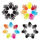 Gekleurde handen Stock Foto