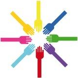 Gekleurde Handen Stock Fotografie