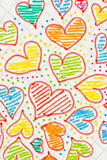 Gekleurde harten die op een blad worden getrokken Royalty-vrije Stock Foto's