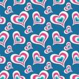 Gekleurde harten op een blauw patroon van de achtergrond naadloos valentijnskaart` s dag voor uw ontwerp vectorhoogte - kwaliteit Stock Afbeeldingen