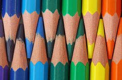 Gekleurde houten-vrije potloden Stock Foto