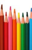 Gekleurde houten-vrije potloden Stock Afbeelding
