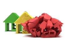 Gekleurde huizen 3d geef terug Royalty-vrije Stock Afbeeldingen