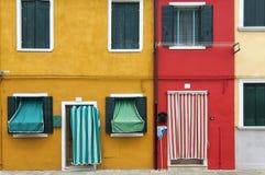 Gekleurde huizen van Burano Royalty-vrije Stock Afbeeldingen