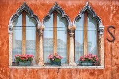 Gekleurde huizen van Burano Stock Afbeeldingen