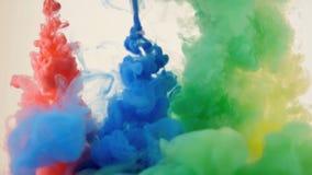 Gekleurde inktexplosie op witte achtergrond stock footage