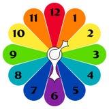 Gekleurde klokken met pijlen Stock Afbeeldingen