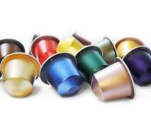 Gekleurde koffiecapsules Stock Afbeelding